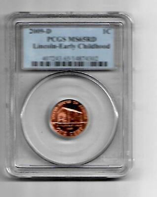 "2009-D US 1cent coin *LINCOLN EARLY CHILDHOOD ""PCGS  MS65 RD"