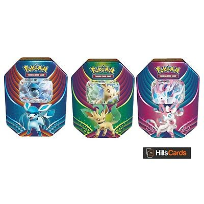 Pokemon - ALL 3 Evolution Celebration Tins - Leafeon + Sylveon + Glaceon GX TCG