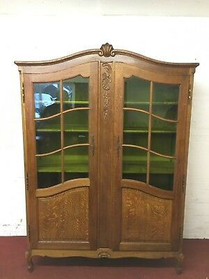 Stunning Tall French Carved Oak Glazed Bookcase