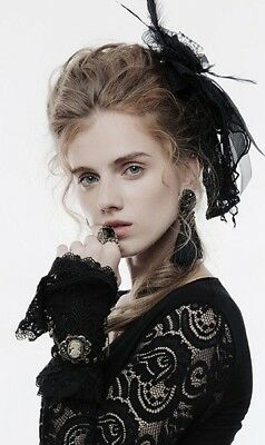 Punk Rave WS-242 Victorian Steampunk Fingerless Gloves Lace With Brooch an Chain