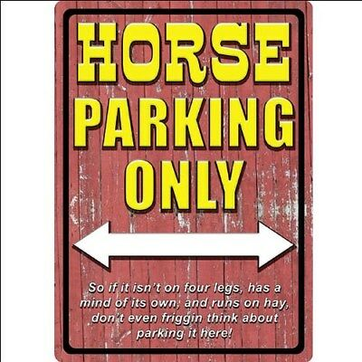 "Rivers Edge Hunter Horse Parking Only 16.75"" x 12"" Decorative Tin Sign"