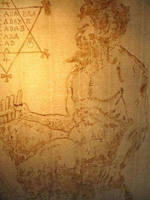 "Rare ""great God Pan"" Ink Drawing On Ancient  Paper Occult Dark  Magick"