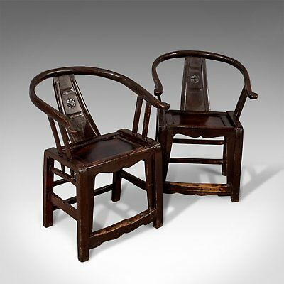 Pair of Antique Chinese Elbow Chairs, Oriental, Carver, Armchair, Circa 1890