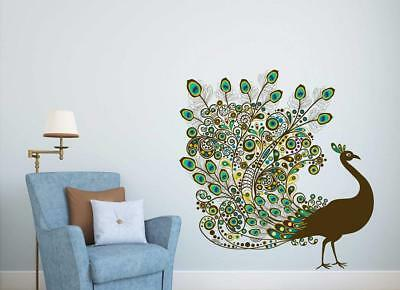 4763b1d98e4 Colourful Peacock Wall Sticker Home Art Decor Decal Mural Wall Paper Kids  Room