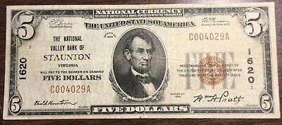 1929 $5 Stauton Valley Bank of Staunton, Virginia Low Serial Number