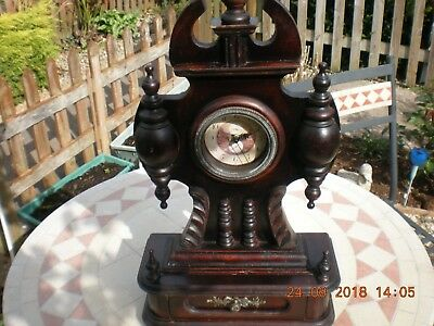 Vintage Wooden Mantle Clock with Draw