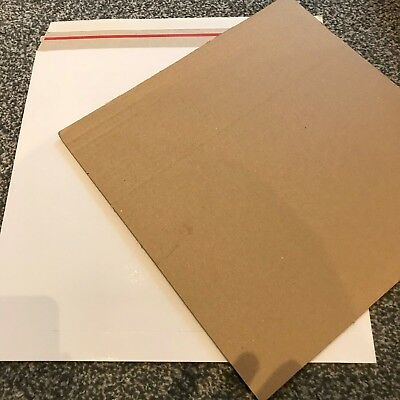 "50 12"" Lp New Budget 490 Micron White Record Mailers + 50 Stiffeners + Free 24H"