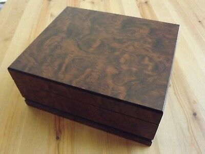 Dark Burl Wood Spanish Cedar Lined 50 Cigar Humidor Humidifier Hygrometer New