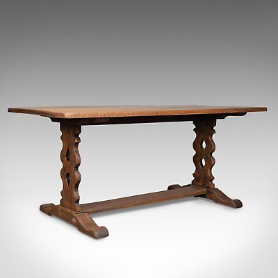 Antique Refectory Table, Edwardian, Jacobean Revival, Oak Dining Seats Six c1910