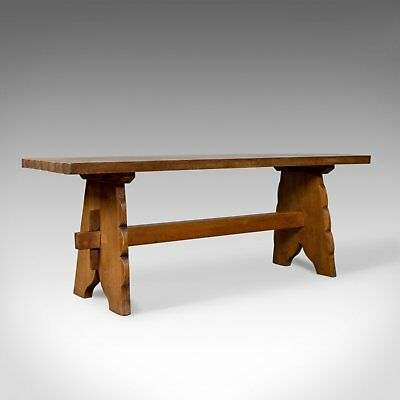 Arts & Crafts Oak Bench, English, Early 20th Century, Two Seat Form