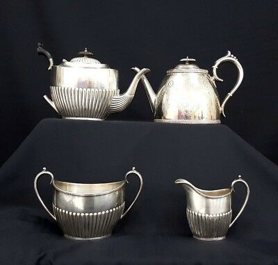 Lot of 4 Hallmarked Silver Coloured Vintage/Antique Tea Pots & Tablewear - O1