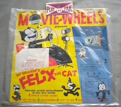 Original 1960 Felix The Cat Movie Wheels Record & Cartoons Sealed & Unused Nice!
