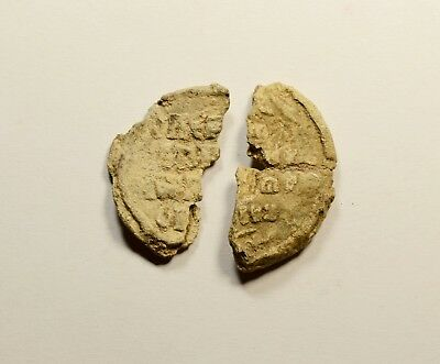 Ancient Byzantine Period Lead Seal Fragments - Lot Of 2