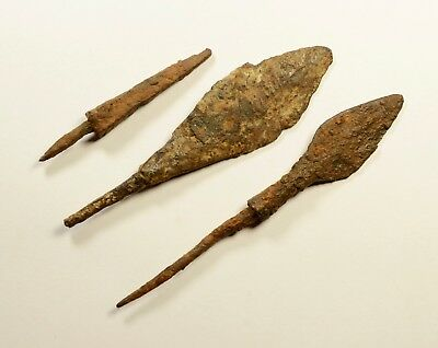RARE LOT OF 3 - ANCIENT ROMAN BATTLE IRON ARROW ARROWHEAD - c. 300-400 AD