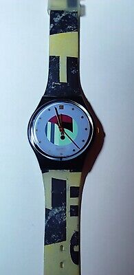 SWATCH gent GOLD INLAY - GB141 - 1991 - New + pila gratis with different strap