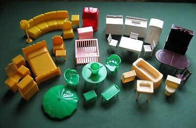 Vtg Lot Marx Dollhouse Furniture Jukebox Bath Kitchen Bedroom D Duck Play Pen