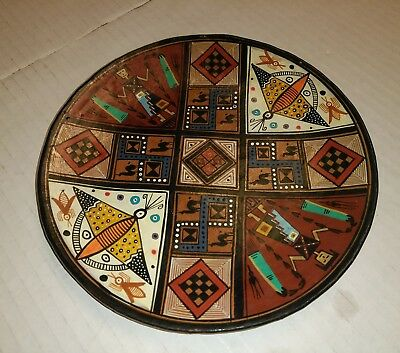 Vintage handpainted  allpa clay tribal art plate 7 3/4""