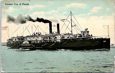 Vintage Postcard Steamer Ship City of Detroit 1910