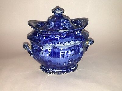 Historical Staffordshire Blue Sugar Bowl Baltimore Alms House Scarce Ca. 1825