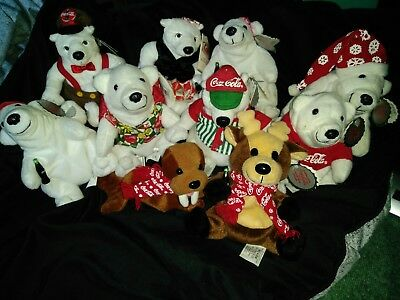 Coca Cola Bean Bag Plush Lot Of 10 New With Tags