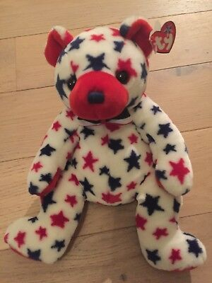 ty beanie Red The Bear US Independence Day USA Exclusive extrem rar ca 35 cm