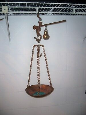 Antique Brass Hanging Balance Scale with Copper Pan