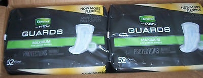 8 x 104 Depend Guards Men's Maximum Disposable Poly Incontinence Pads Diapers