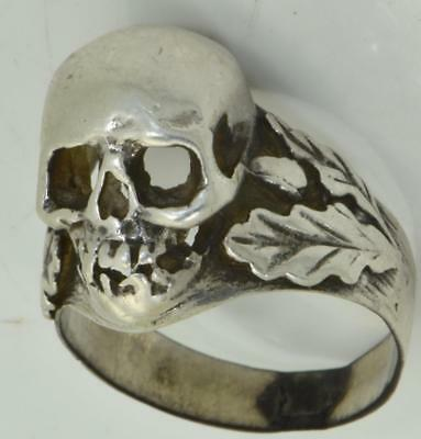 WOW! Rare antique WWI German Army Officer's silver Skull head&Oak leaves ring