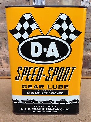 1950's 60's D A Speed Sport 1 Gallon Gear Lube Grease Oil Can