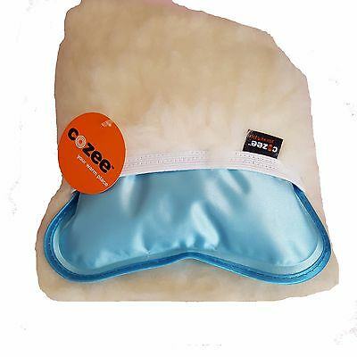 Rechargeable Electric Hot Water Bottle & British Wool Cover - Blue - By Cozee