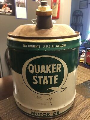 Vintage Quaker State 5 gallon oil can - excellent condition