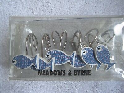 Blue Fish Shower Curtain Hooks Meadows & Byrne Box Packet Of 12 Brand New Sealed