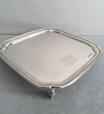 Quality Deco Vint. Solid Silver Sq. Salver /tray.  Viners.  558Gms.  Sheff.1933.