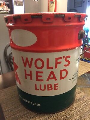 Wolf's Head 5 gallon lube oil can - excellent condition