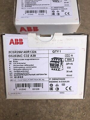 Abb Ds203Nc C32 A30. 2Csr256140R1324 Rcbo Brand New