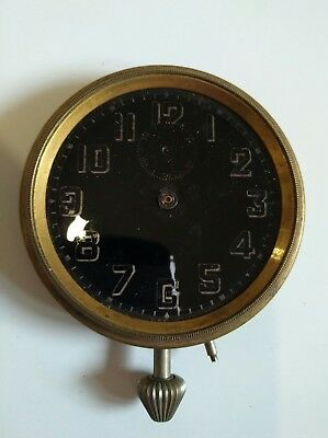 Vintage Car Clock with Black Dial 1930s - For Spares or Repair - Military?