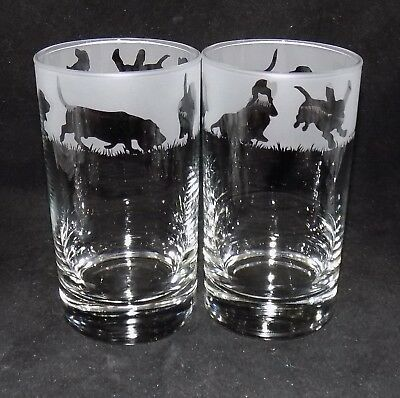 "New Etched ""BASSET HOUND"" Hiball Glasses - Beautiful Gift  - Free Gift Box"