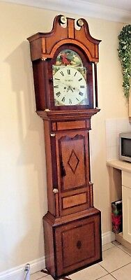 VICTORIAN CROSS BANDED LONGCASE IN ORIGINAL WORKING ORDER AND CONDITION c 1880 +