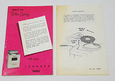 Vintage Leonard Domestic Electric Range Instruction Manual Part No. 751176