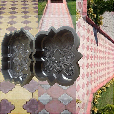 Set of 2 concrete garden mould path slab plastic floor tile paving decking drive