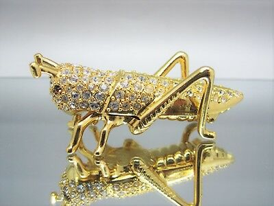 Rare Estee Lauder 2013 Gold Plated / Crystals Grasshopper Perfume Compact