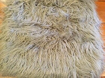 Pottery Barn Mongolian Faux Fur Pillow Cover Gray 18 Sq New 3999