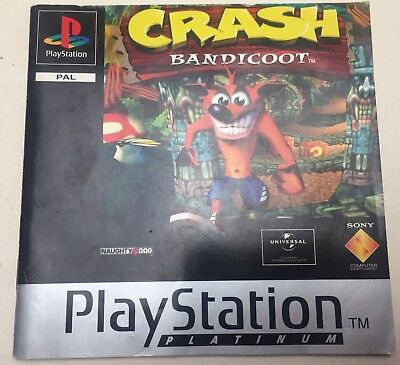 INSTRUCTION MANUAL/BOOK ONLY Crash Bandicoot Platinum PS1 PSOne Playstation