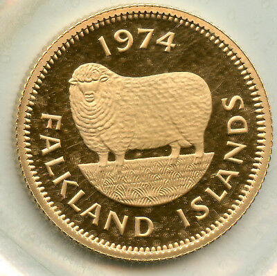 Genuine 1974 Falkland Islands Proof Gold 1 Pound coin, Low (2,675) mintage!