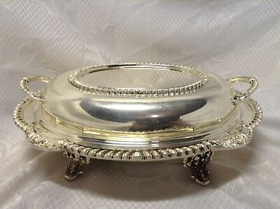 RARE English Silver Mfg. Corp Silverplate Dual Serving Dish With Lid 916 USA