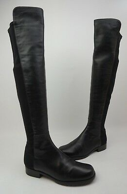 ada283696a7 Stuart Weitzman 5050 Over the Knee OTK Stretch Leather Boots Black Size 5.5  M.