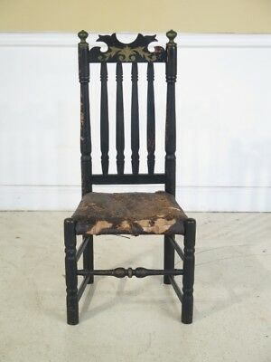 F42820: Antique 18th Century William & Mary Rush Seat Side Chair