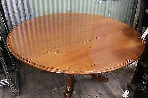 A Large Vintage Circular Dropside Dining Table on Carved Pedestal Base