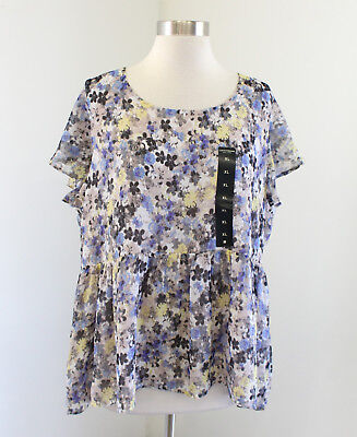 2b3d262c66293 NWT Lucky Brand Floral Flutter Sleeve Baby Doll Blouse Top Size XL Yellow  Blue
