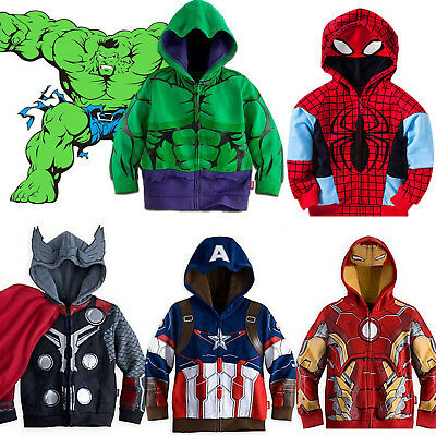 Kids Boys Superhero Spiderman Hooded Jacket Coat Hoodie Sweatshirt Jumper Top